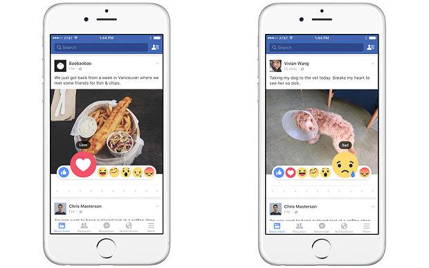 Facebook запустил альтернативные «лайки»