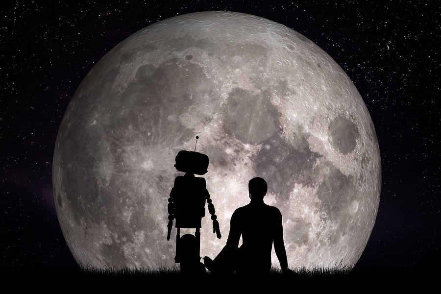 Man and his robot friend looking on moon. Future technology concept, artificial intelligence. 3D rendering. Elements of this image furnished by NASA